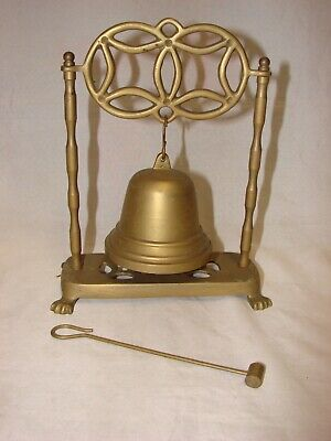 Vintage Ca 1960s Brass Bell Gong with Striker, Hong Kong, Dinner, Reception, Bar