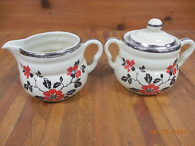 Vintage Hall Kitchenware Creamer & Sugar Bowl Set  Red Poppy  #