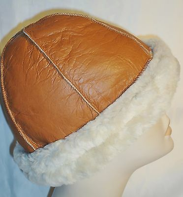 629f1356 NEW mens/womens Beanie Round Brown Sheepskin Shearling Fur Hat Real Leather  Warm