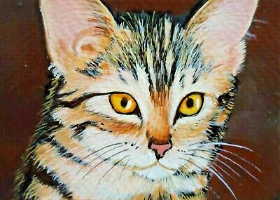 CARD ACEO Cat Art Animal Original Painting drawing Acrylic Miniature kitten