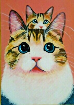 ACEO CARD Art Cat Animal Painting Original drawing Acrylic Miniature kitten