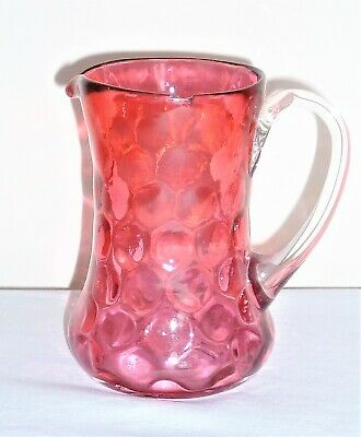 Antique C1880 Mid-Late Victorian Cranberry Glass Cream Jug With Clear Handle