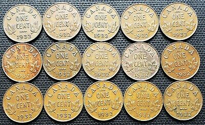 Lot of 15x Canada 1932 Small Cent Pennies - Great Condition Coins