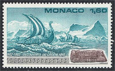 Monaco 1982 Discovery of Greenland Viking Ship and Runes Stamp #1359 YT 1356