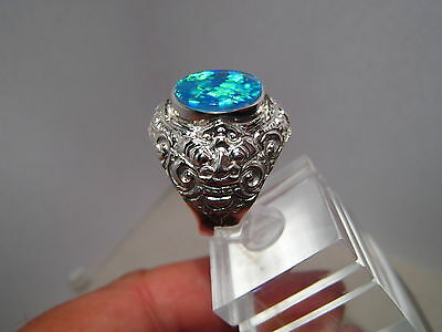 Large Mens Opal Barong Ring sterling silver Any Size ( can be made in Gold )