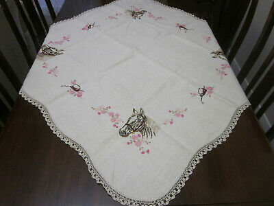 Beautifully Hand Embroidered Horses Racing Theme Pure Linen Tablecloth