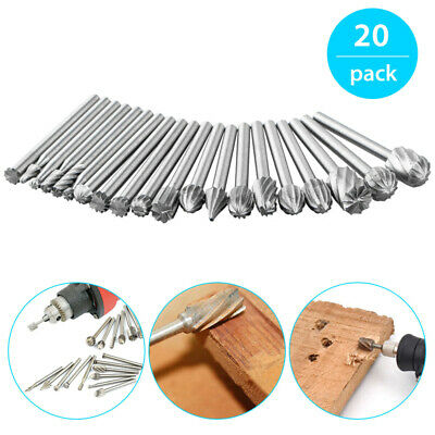 20Pcs HSS Carbide Burr Set Rotary Drill Bit Die Grinder Carving Engraving Dremel