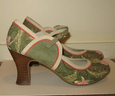 e35bc7c6e1c87 New Ruby Shoo Rosalind Avocado Green Mary Jane Heels Shoes Sz Us 10 Uk 8 Eur