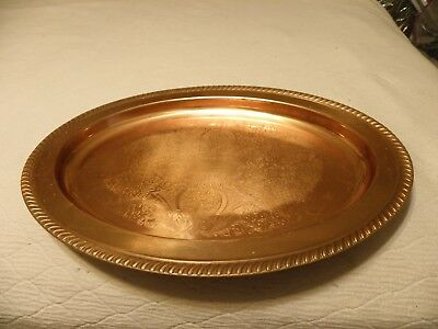 Vintage oval shaped  copper  tray
