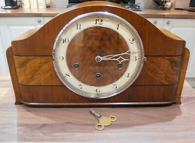 Antique Walnut Cased Chiming Mantel Clock with H.A.C. movement