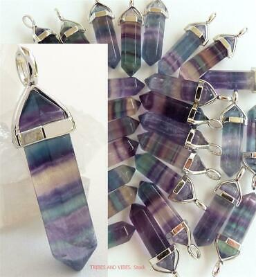 RAINBOW FLUORITE Crystal Point Pendant Necklace gem Healing Chakra Jewellery