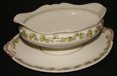 Vtg Wm Guerin Limoges France Gravy Boat Underplate Clover w/ Pink Flowers GUE207