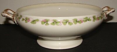 Vtg Wm Guerin Limoges France Serving Bowl NO LID Clover w/ Pink Flowers GUE207