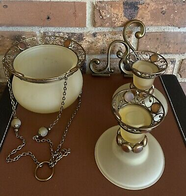 Partylite Paris Retro Hanging Candle Lamp & Taper Candlestick Holder Set Retired