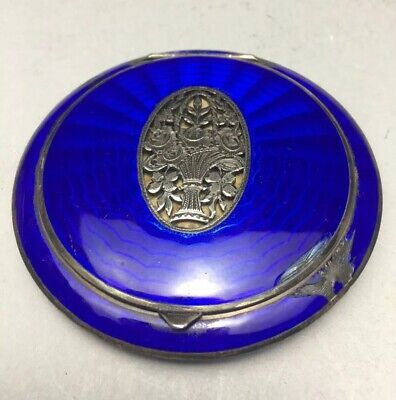 Austrian Blue Guilloche Enamel Sterling 935 Silver Filigree Makeup Compact