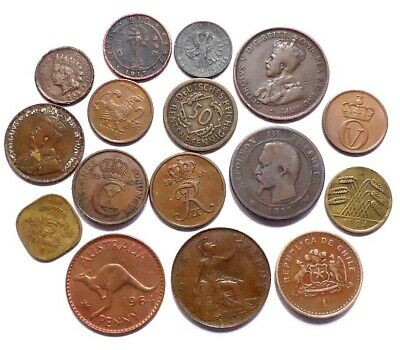World Coins Lot Of 16, Some Old Dates See Pics, 0.99 Cents Auction