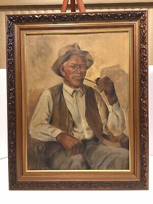 Vintage 1948 Oil Painting By Soper - Framed Signed Man smoking a pipe.
