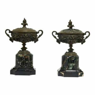 Pair of Antique French Bronze & Verde Antico Marble Covered Urns