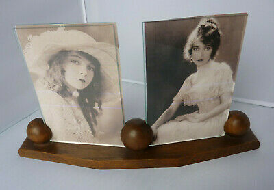 Stunning Original Art Deco French Double Wooden Photo Frame.c1930's