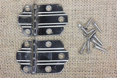 2 Cabinet door hinges ornamental nickel chrome finish chrome retro vintage 1950