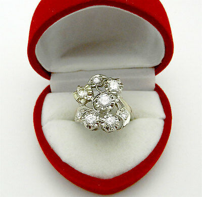 Vintage Art Deco 14k White Gold Cluster Natural Diamonds 1.25 ct Cocktail Ring