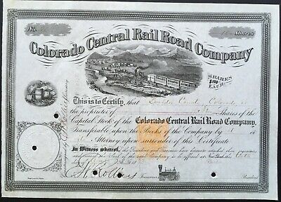 COLORADO CENTRAL RAIL ROAD CO Stock 1873 Connected Denver to Colorado Mines. VF+