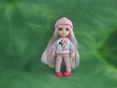 """6"""" Bjd Girl Doll Pink Hair Moveable Joints Handmade Clothes Shoes Collectibles"""