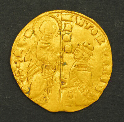 1439, Papal States, Roman Senate. Gold Ducat (Zecchino Type!) Coin. 3.47gm!
