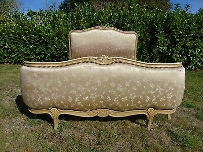 French Bed Double Bed Vintage Antique Demi Corbeille Style Curved Footboard