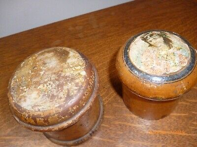 Antique Sycamore Powder Pots One With Powder Puffer