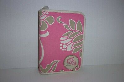 Roxy Pink Beige & White Floral Print Canvas Zip Around Planner Organizer Agenda
