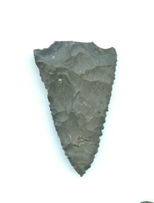 Indian Artifacts- Fine  Light Serrated Snapped Base Point-Arrowhead