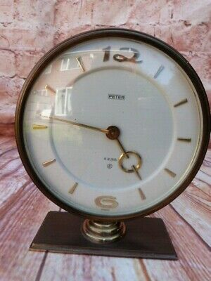 "Vintage Mid Century German Brass & Glass Wind Up Mantel Clock By ""Peter"" 4 Rubus"