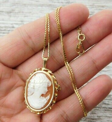 Vtg ESTATE 14k 585 YELLOW GOLD CAMEO Brooch Pendant CHAIN NECKLACE Lot ITALY 14k