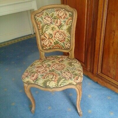 Chair French Louis Xv Style Oak Frame Tapestry Upholstery Parlor Style