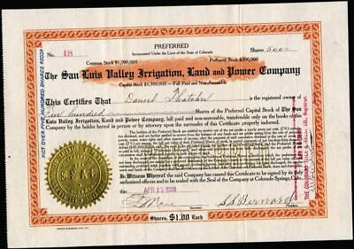 San Luis Vallewy Irrigation Land And Power Co, C.s., Co., 1908, Un Cancelled Stk