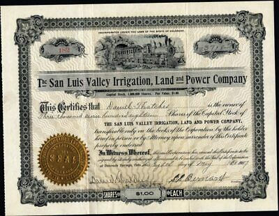 San Luis Valley Irrigation, Land And Power Co Of Co., 1907, Uncancelled Stock Ct