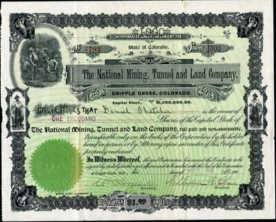 Cripple Creek, Co: National Mining, Tunnel And Land Co., 1900, Uncancelled Stock