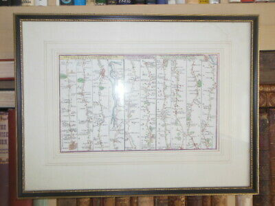 Hand Coloured Map (c1766) London to Harwich, Bury St Edmunds, Ipswich, Yarmouth