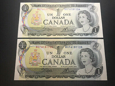 1973 Bank of Canada Consecutive Serial Number $1 Bills Crisp Unc Nice Shape!!