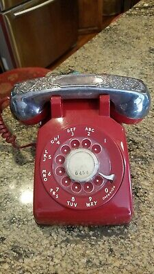 Vintage Western Electric Red Rotary Telephone w/Silverplate Handset Cover