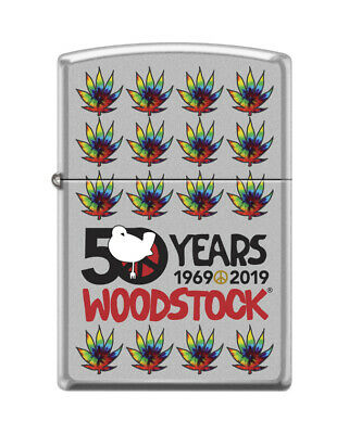 "Zippo 9789, ""Woodstock-50th Anniversary"" Satin Chrome Finish Lighter"