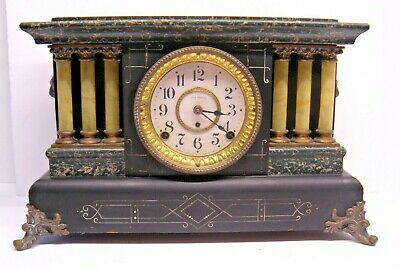 Antique Seth Thomas Adamantine 6 Column Mantle 8 Day Clock with Lion Head Handle