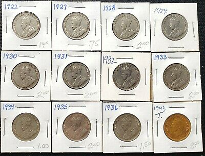 Lot of 12x Canada 5 Cent Nickels - Dates: 1922 to 1943 - Great Condition Coins
