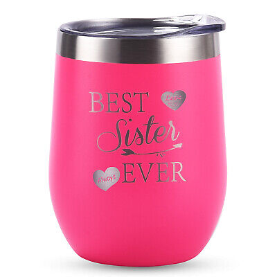 Stainless Steel Wine Tumbler with Lid 12oz Insulated Stemless Novelty Sippy Cup