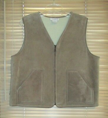 JONES NY Suede Shearling Southwestern Zip Vest L LARGE Tan Western EXCELLENT $99