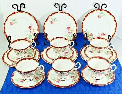 Lot Of 6 Bell China Trios (Tea Cup & Saucer, + Plate) Red Narcissus Tulip Floral