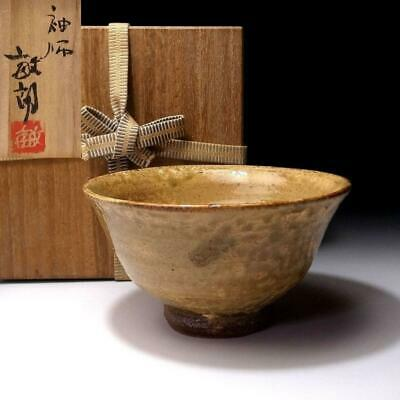 EM13: Vintage Japanese Tea Bowl, Sodeshi ware by 1st class potter, Toshiro Ono