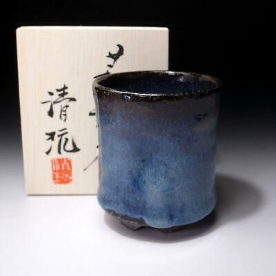EL18: Japanese Large Pottery tea cup, Hagi Ware by Famous Seigan Yamane, Blue