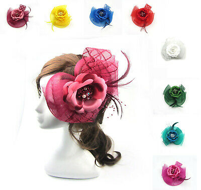 New Wedding Flower Feather Bead Corsage Hair Clips Fascinator Hairband GD U PICK